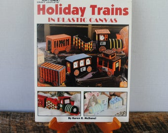Holiday Trains in Plastic Canvas Leisure Arts Leaflet 1637