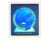 Rare Vintage 80's HALLMARK Stickers ~ HOLOGRAPHIC Tropical Palm Trees Ocean Sunset