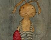 Primitive Bunny Rabbit w/Egg ~~ Easter & Spring Decoration ~~ rag stuffed