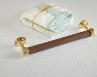 Polished Brass and Walnut Towel Bar, No VOC, Natural Finish