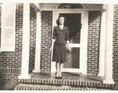 "Reserved For Karen Vintage Snapshot ""Model Slim"" Pretty Girl Tilted Horizon Found Vernacular Photo"
