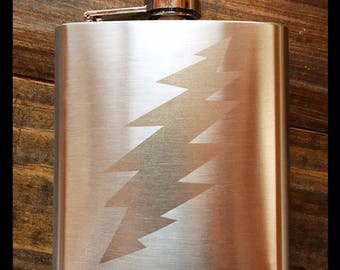 13 Point Bolt 6oz Etched Stainless Steel Flask!