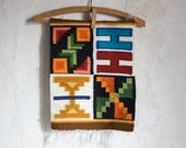 Vintage Peruvian Folk Tapestry // Bohemian Wool Woven Wall Decor // Boho Geometric