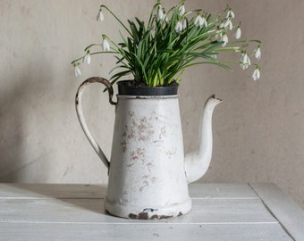 Vintage French Coffee Pot // Enamelled Metal Antique Enamelware // Shabby Chic Flower Pot or Vase