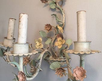 Vintage Pastel French Tole Floral Sconce Chandelier Shabby Cottage Chic Painted Metal Chippy 2 of 2