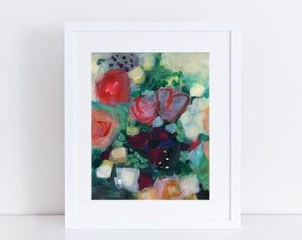 Floral Art Print, Modern Art, Flower Bouquet, Fine Art Print, Contemporary Art Print, Garden Floral, Abstract Art, Bohemian