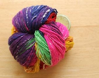 Rainbow Bright - Handspun Merino Wool Yarn Silk Fingering Self Striping