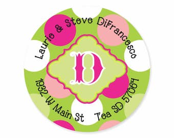 Polka Dot Personalized Address Labels Stickers / Pink Green Preppy