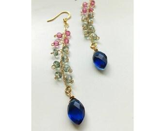 """Long multi colored quartz and gold dangle """"duster"""" earrings/ Spring inspired gold boho dangle earrings"""