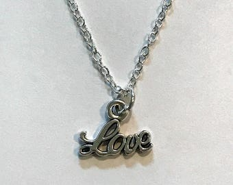 Tibetan Silver LOVE Charm Necklace - Gift - 925 Sterling Silver or Silver Tone Chain - Love Ones - Wife - Girlfriend