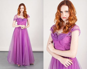 50s Purple Tulle Gown Vintage Violet Tulle Strapless Princess Prom Dress