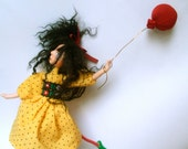 Hanging Art Doll, OOAK Handmade Clay Doll, Wall or window decor, Ready to Hang, Ornaments