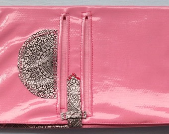 Pink Oilcloth, Pink and Black, Travel, Passport, Wallet, Reuse, Classy, Trip, Vacation, Europe, Africa, Asia, South America, Australia
