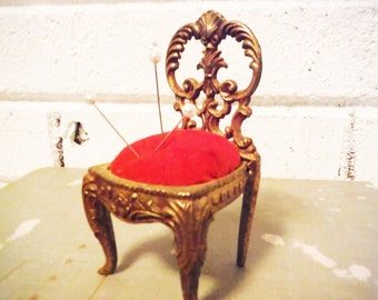 Brass chair pincushion novelty sewing accessory red velvet fancy victorian edwardian needlework vintage