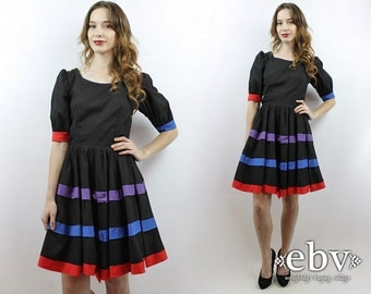 Square Dance Dress Babydoll Dress Black Dress Puff Sleeve Dress Vintage 80s Black Striped Bow Party Dress S M Colorful Dress 1980s Dress