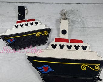 Mouse Cruise Ship Zipper purse embroidery design digital instant download