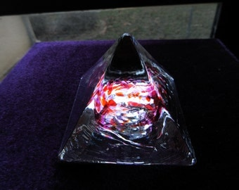 Vintage Pyramid Paperweight with Red and Purple Swirl Designs