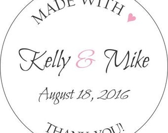 Wedding Favor Labels - Thank You Wedding Stickers - Round Stickers - LabelsRus