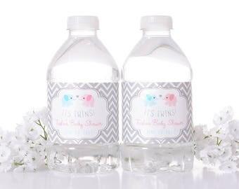 25 Custom Baby Shower Water Bottle Labels - Baby Shower Stickers - Waterproof Water Bottle Labels for Baby Shower - Twins Baby Shower
