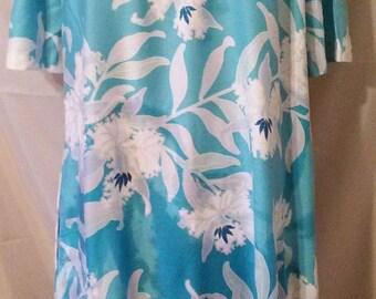 "SPRING CLEARANCE SALE Sweet 80s Kahala Hawaiian Aloha Casual Resort Cruise Beach Day Dress-Muu Muu-46"" Bust-Size 14-Large"