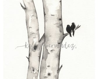 Wall art, Watercolor, Printable Art, Printable Watercolor, Instant Download, Birch Tree Love, Wall Artwork