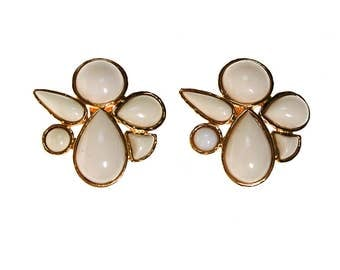 Miss Valentino White Lucite Statement Earrings