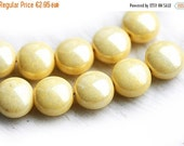 30%OFF SALE Puffy Tab beads, czech glass - luster Buttercream Yellow - round, tablet shape - 9mm - 10Pc - 1253