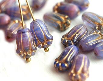 Pink Tulip beads, Golden wash Czech glass flower glass beads, mixed Pink Blue - 20Pc - 0562