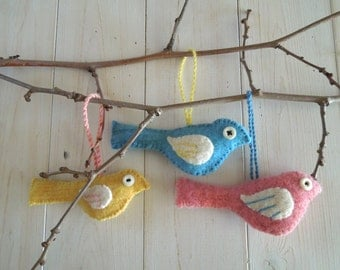 Bird Ornaments - Upcycled Felted Sweater - Bright Yellow, Pink and Blue