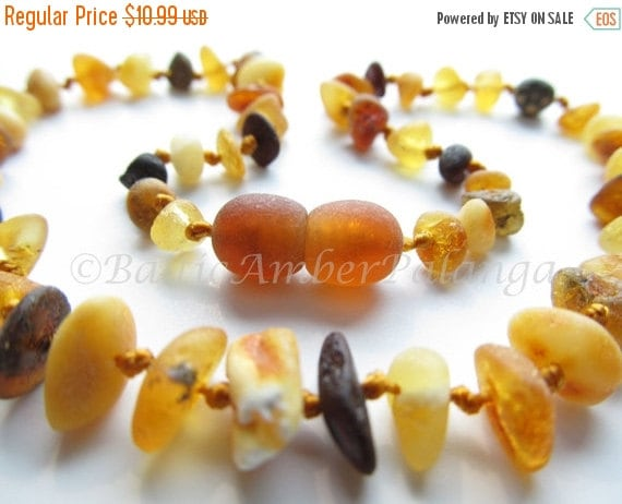 17%OFF--CHRISTMAS SALE Raw Unpolished Baltic Amber Baby Teething Necklace Multicolor Beads