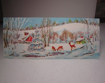 1950's mid century gold gilded glittered christmas card winter landscape red barn, houses deer and buck with a decorated snow covered tree