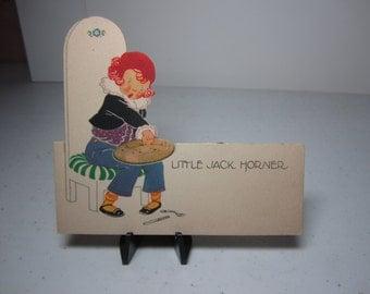 1923 unused P.F. Volland Mother Goose colorful die cut art deco Little Jack Horner place card