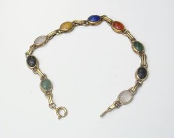 1950's Vintage Glass Semi Precious Stones Onyx Carnelian Lapis Lazuli Double Carved Scarab Beetle Bracelet Costume Jewelry Gift For Her