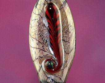 Silver Fawn and Feather Handmade Lampworked Glass Bead OOAK Silvered Fawn Black Red Twisted Cane Shield Focal Lampwork