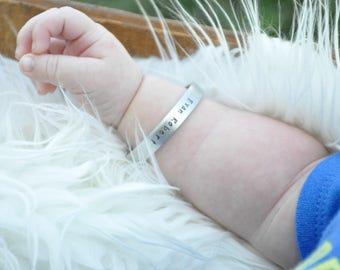 Baby Boy Hand Stamped Personalized Bracelet - Hand Stamped Baby Bracelet - Baby Cuff Bracelet - Personalized Kids - Baby Shower Gift