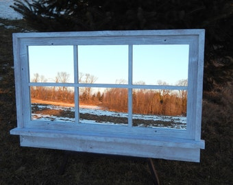 "Custom Made -- White Barnwood Framed Mirror -  42""w  x 26""h  (overall size)"