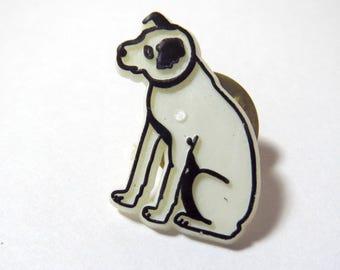 Vintage 1970s Retro RCA Victor Dog Logo Emblem White Plastic Pinback Pin Button
