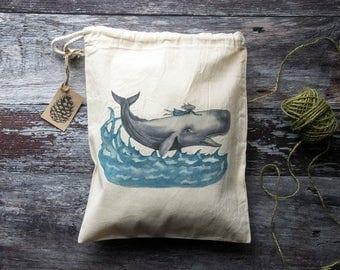 Whale Rider Bag - Drawstring Bag - Fairtrade Cotton - Ethical and Reusable - Original Design