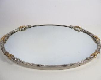 Vanity Dresser Oval Tray Mirror - Vintage Silver Rope Brass Mirror Tray