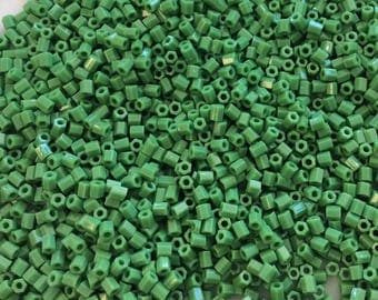 11/0 Hex seed beads Opaque Green 15 grams