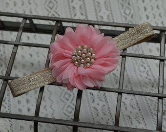 Pink Baby Girl Headband...Ballerina Flower Headband...Newborn Headband...Vintage...Infant Headband...Crystals and Pearls...Headband...Pink