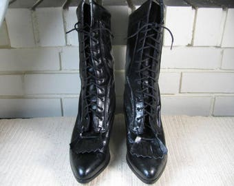 Vtg Black Leather Granny boots size 6 M by Durango