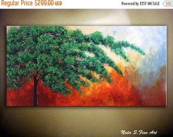 """Tree Painting, Abstract Wall Decor, Landscape Painting, Original Paintings, Modern Tree Artwork, Large Home Decor  24"""" x 48"""" by Nata S."""
