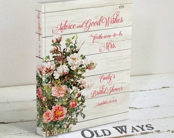 Rustic Roses Bridal Shower Guest Book - Pink & White Roses and Weathered Wood - Personalized Advice and Wishes for the Bride to Be Book