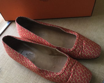 HERMES Flats shoes orange fabric size 36.5 pre-owned made in italy Authentic with box