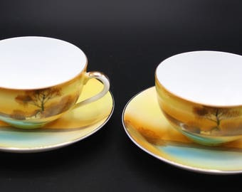 Tree in the Meadow by Noritake, Made in Japan, 1920s Fancyware, 2 Flat Cups & 2 Saucers, Lovely Condition
