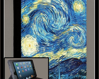 Vincent Van Gogh iPad Air iPad 2 iPad 3 iPad 4 iPad Mini Monogram Case Folio Cover Adjustable Angle Stand Notebook Cover