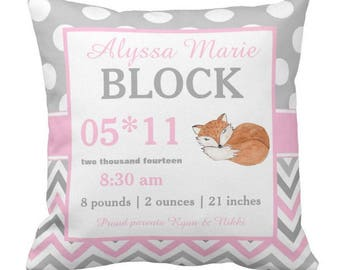 Fox Pink Birth Announcement Pillow Cover and Insert