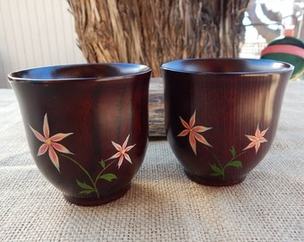 Hand Painted Wood Cups  Made in Japan   ~  Floral Hand Painted Wood Drinking Cups