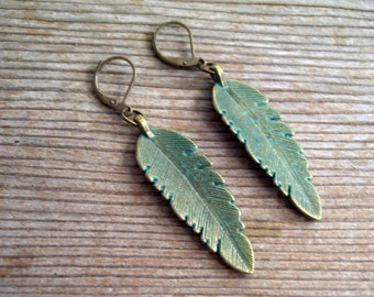 Verdigris Feather Earrings, Feather Leverbacks, Antiqued Brass Feather Earrings, Boho Earrings, Verdigris Earrings, Blue Bird Feather